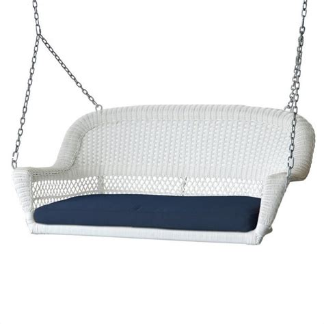 cushion for porch swing jeco wicker porch swing in white with blue cushion