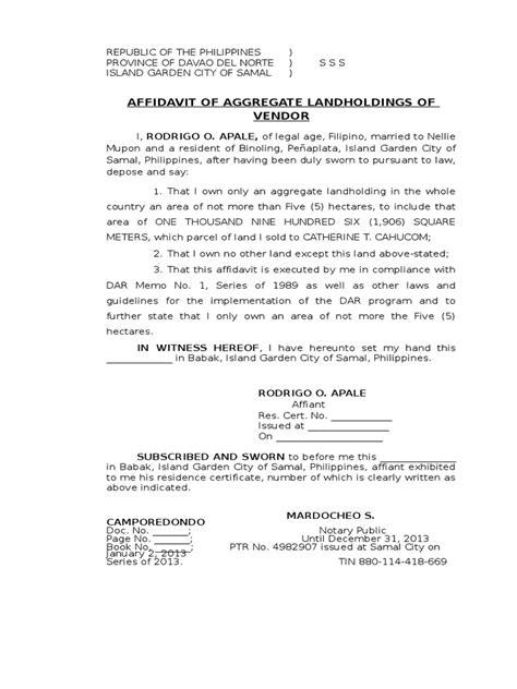 Request Letter Dar Clearance Affidavit Of Aggregate Landholdings Of Vendor