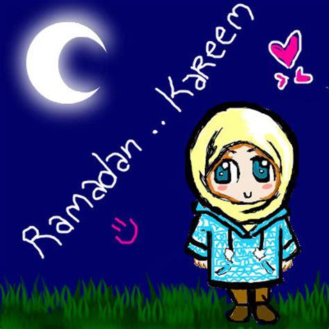 gambar kartun islami ucapan selamat puasa di bulan ramadhan