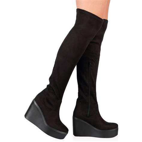 womens zip up wedge heel the knee boots in black