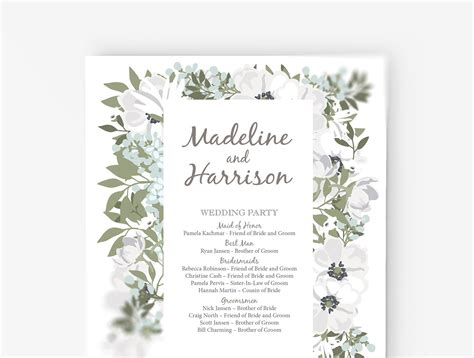 wedding program template word wedding program template editable word template