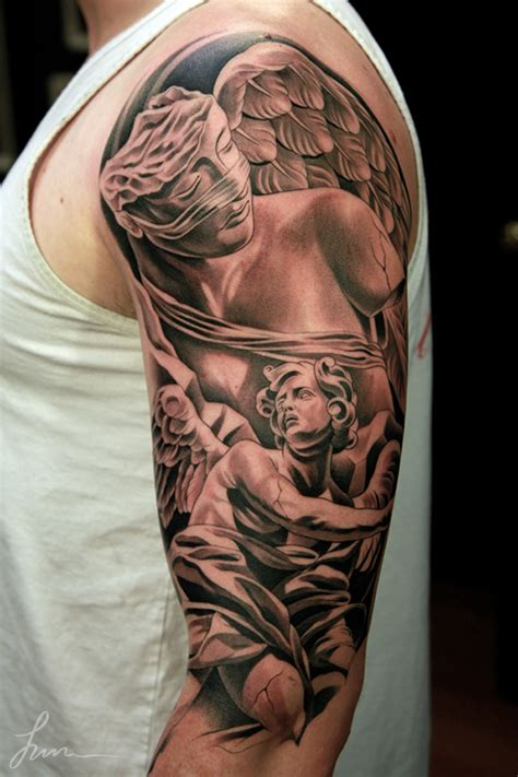 fallen angel tattoos for men left half sleeve fallen