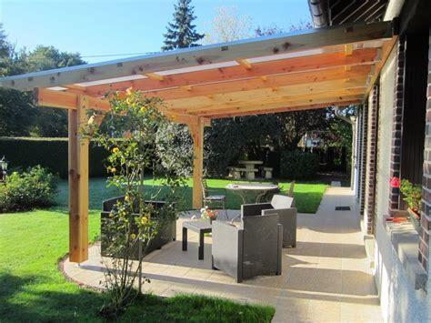 terrasse couverte pergola murale bois 6 06 x 4 00 m couverture polycarbonate