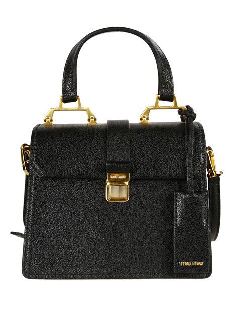 Miu Miu Shoulder Bag by Miu Miu Madras Textured Leather Shoulder Bag In Black Lyst