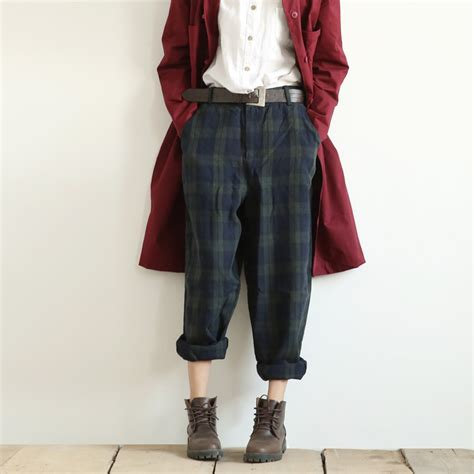Retro Pant 2016 vintage literary classic plaid casual linen retro blue green oversized