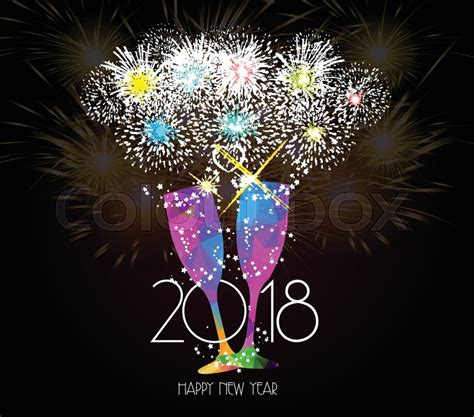 toast box new year open new year chagne toast 2018 background stock vector