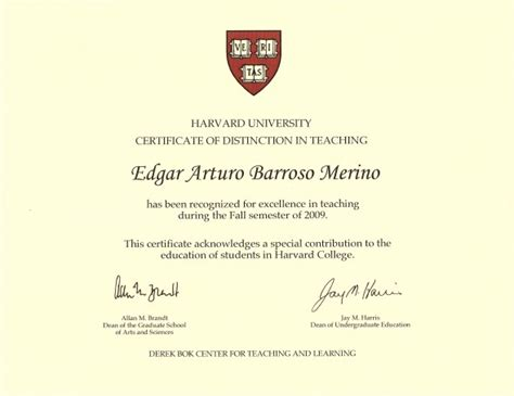 Harvard Distance Learning Mba by Edgar Barroso Awarded With A Harvard