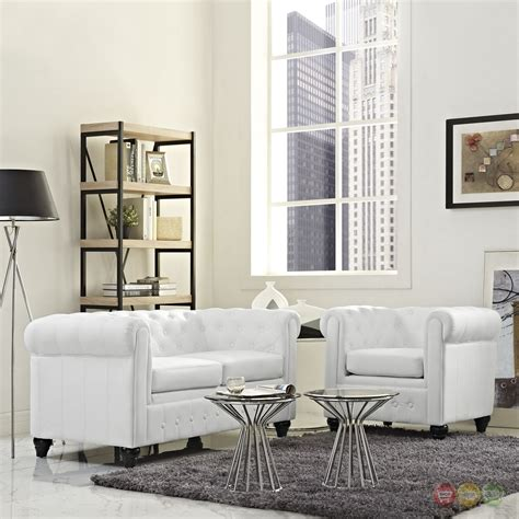 Upholstered Living Room Sets Earl Contemporary 2pc Faux Leather Upholstered Living Room Set White