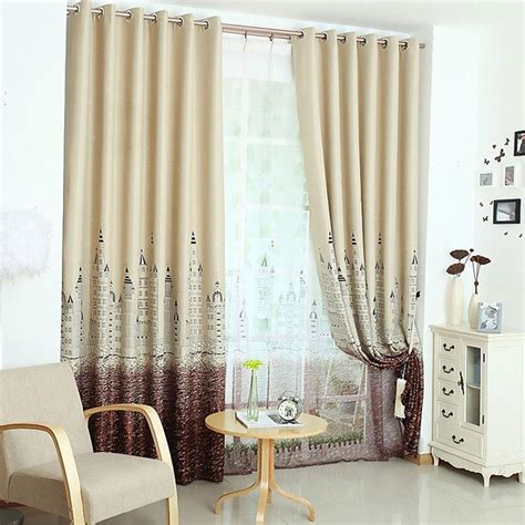 Ready Made Nursery Curtains Korean Modern Printed Curtains For Nursery Room Customized Ready Made Blackout Sky Castle 250cm