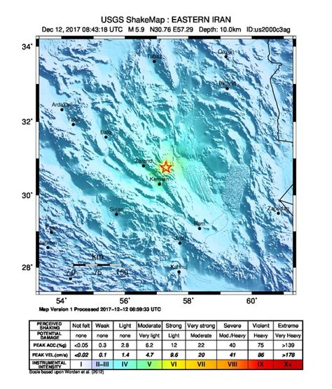 earthquake december 2017 strong and shallow m6 2 earthquake hits southeastern iran