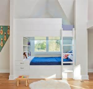 beautiful Turquoise And White Bedroom Ideas #5: formalbeauteous-built-in-bunk-beds-with-storage-twin-over-full-bed-blue-mattress-easy-on-the-eye-white-sconces-lighting-kids-unique-ideas-ikea-space-saving-wooden-stairs-book-shelves-636x610.jpg