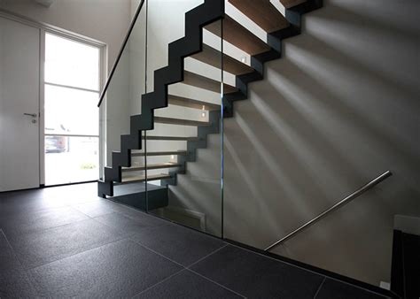 Zig Zag Stair glass staircase with zig zag stair stringer