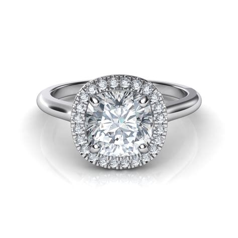 cusion cut plain shank floating halo cushion cut diamond engagement ring