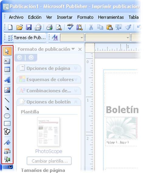 tareas basicas de publisher ubicaci 243 n de la barra de herramientas objetos publisher