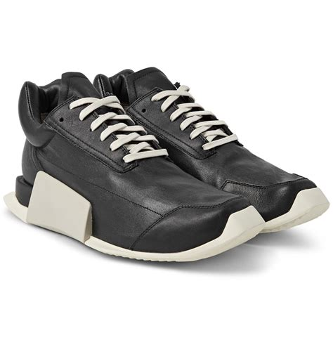 Adidas Rubber Black rick owens adidas level runner low leather and rubber sneakers in black for lyst