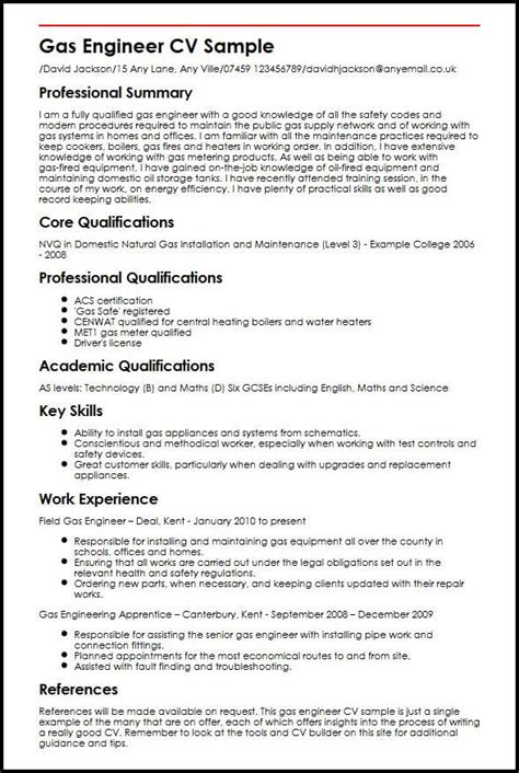 best cv exles for engineers gas engineer cv sle myperfectcv