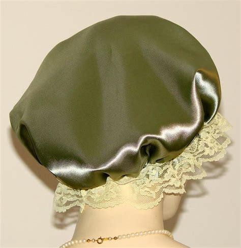 Hair Shoo Olive olive green satin hair bonnet pauljulia designs