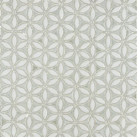 artistic tile flapper floral be bop white glass mosaic wall mosaics
