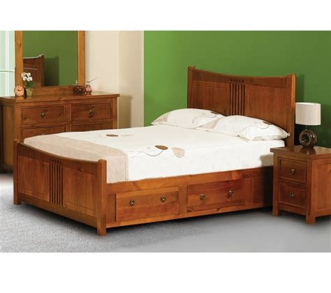 Wooden Bed Frame With Drawers Sweet Dreams Curlew Cherry 4ft 6 Wooden Bed Frame With Bed Drawers