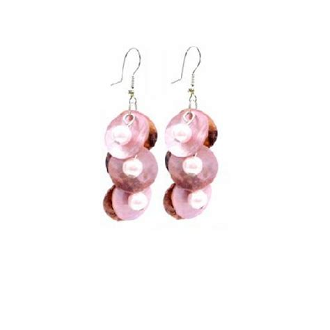 shell jewelry mop shell danling pink shell pearls earrings