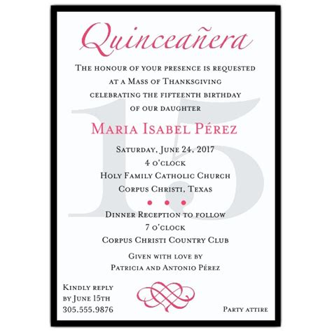 classic pink quinceanera party invitations paperstyle