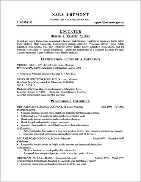Resume Career Change From Teaching Professional Resume Exle Learn From Professional Resume Sles