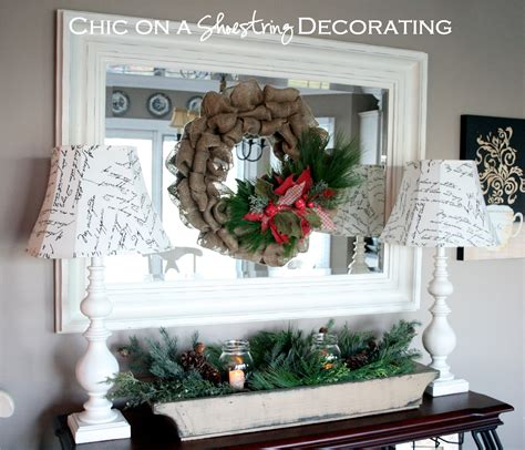 chic on a shoestring decorating burlap christmas wreath