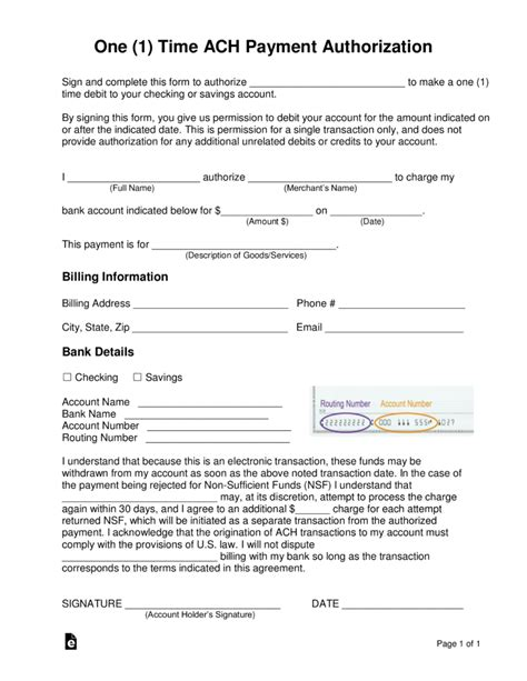 credit card or ach authorization form template word free one 1 time ach payment authorization form pdf