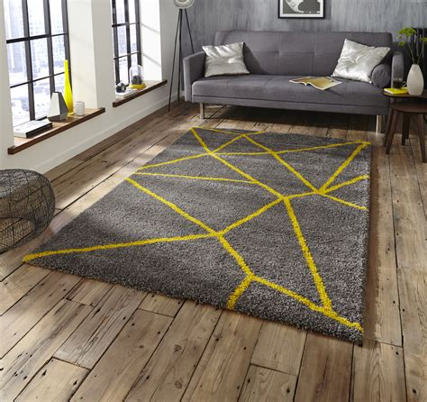 Grey And Yellow Rugs by Grey Yellow Shaggy Pile Rug Royal Nomadic Geometric Design