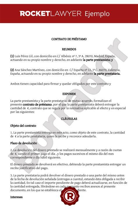 ejemplo de carta de prestamo de dinero contrato de pr 233 stamo entre particulares modelo de