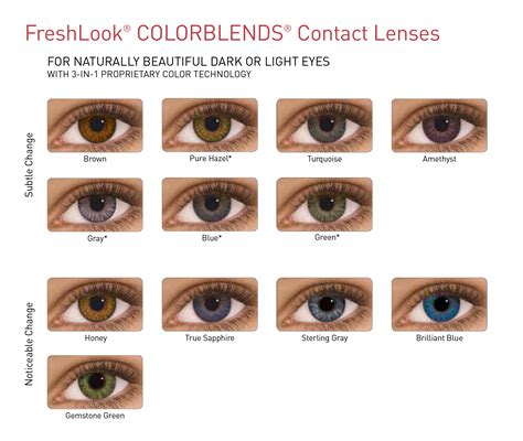 color blends freshlook lentilles de contact de couleur vert gris bleu
