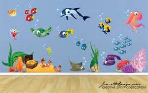 wall decalsfish and sea treasure fabric wall decal