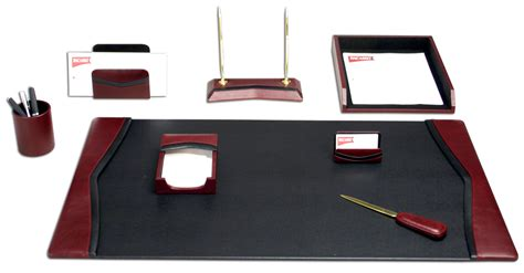 office desk accessories set d7012 burgundy contemporary leather 8 piece desk set
