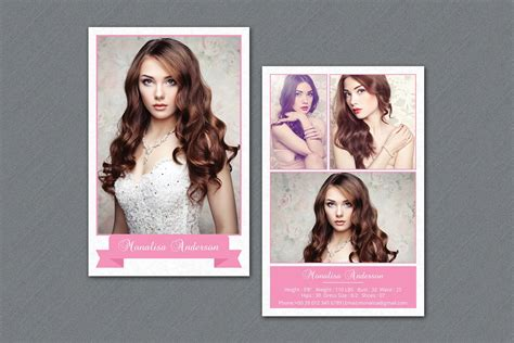 fashion model comp card v292 flyer templates creative