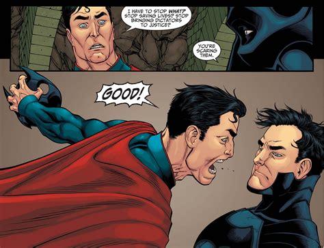 orgasmaniacscom youd be crazy not to come too superman and batman debating about killing criminals