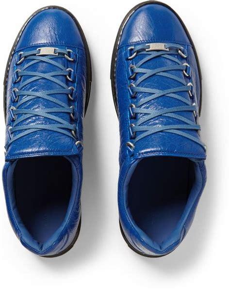 balenciaga arena sneakers blue balenciaga arena creased leather sneakers in blue for