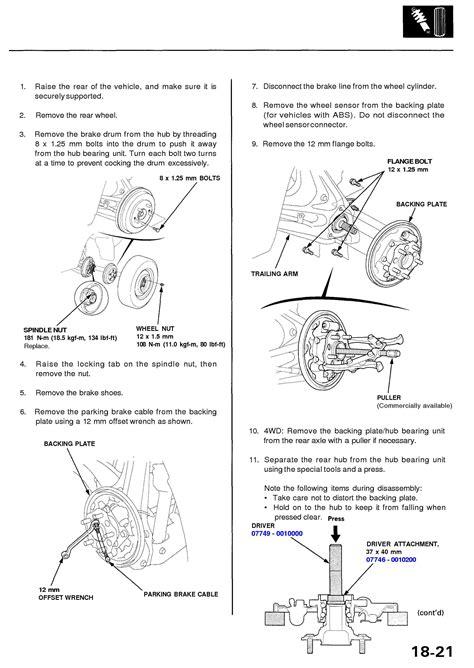 remove  rear wheel bearinghousing    honda crv