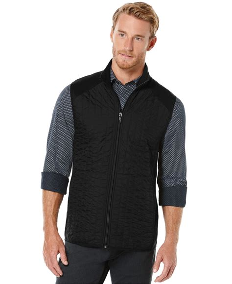 Quilted Zip Vest by Perry Ellis Mixed Media Quilted Zip Front Vest In Black