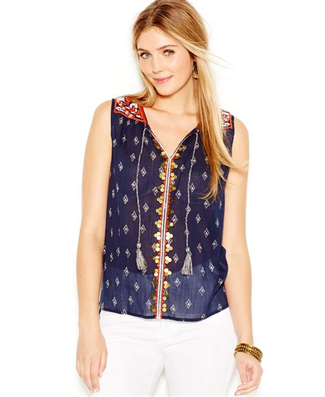 Lucky Blouse By lucky brand lucky brand printed sleeveless peasant top in