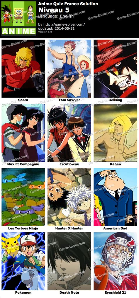 Anime Quiz by Anime Quiz Fran 231 Ais Niveau 5 Solver