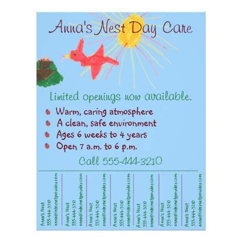 child care flyer templates child care flyer day care flyer w tear info zazzle