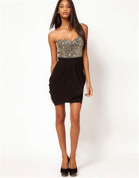 Fitted Mini Dress With Cut On Breastry7270 Import new lipsy vip sequin bust dress size uk 8 black gold