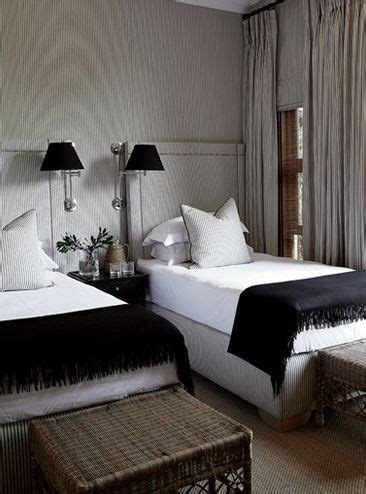 masculine guest bedroom  twin beds  fabric