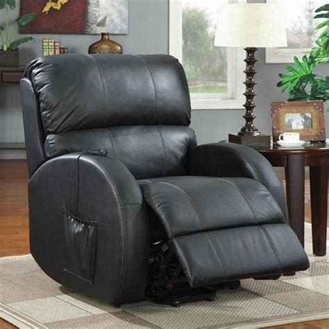leather recliner lift chairs top grain leather power lift recliner chair in black 600416