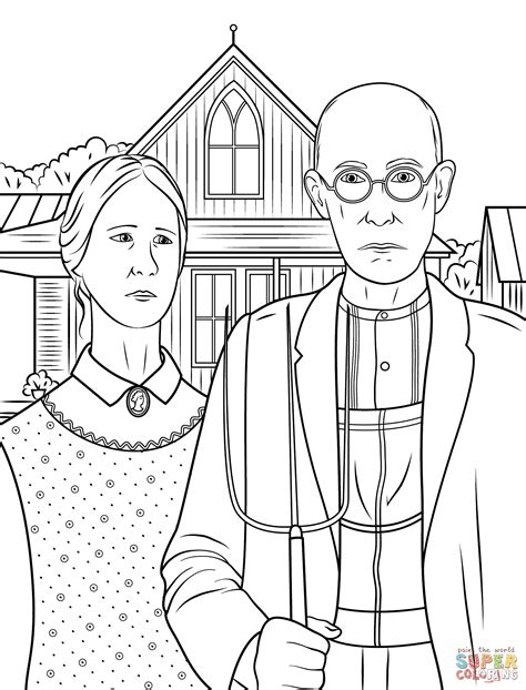 Paintings Coloring Pages american by grant wood coloring page free printable coloring pages