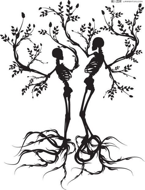 tattoo of couple hanging from tree 2棵骷髅树剪影矢量素材 矢量植物 懒人图库