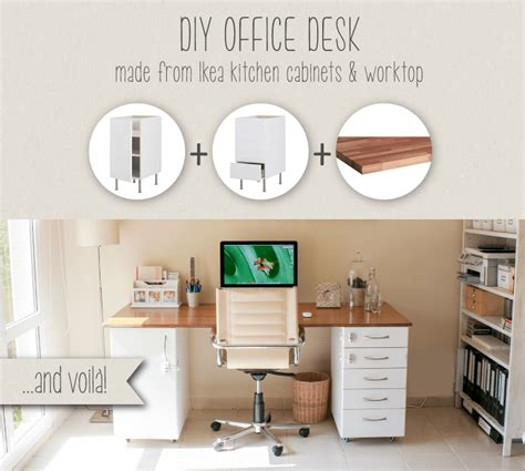 ikea hack kitchen cabinet desk diy office desk house of hawkeshouse of hawkes