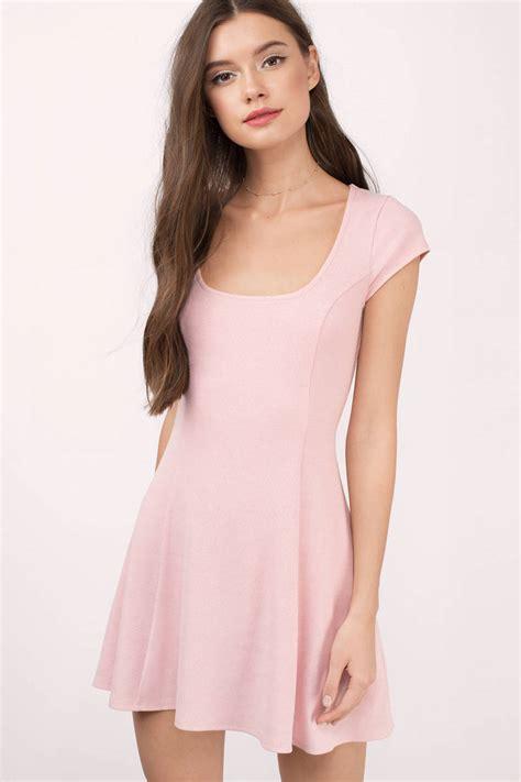 Pink Mix Black Dress 27379 blush dress sleeve dress pink flare dress