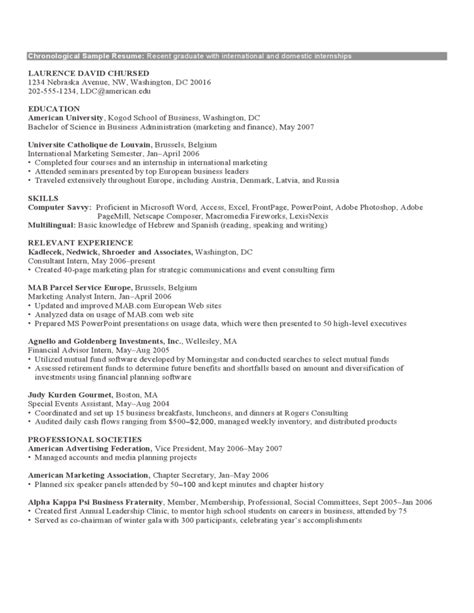 chronological format resume exle chronological resume sle format free