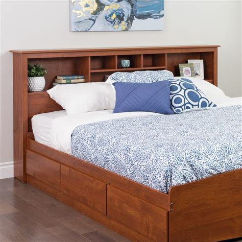king headboard with shelves features